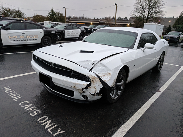 Oregon City patrol vehicle struck during the pursuit. (Courtesy: Oregon State Police)