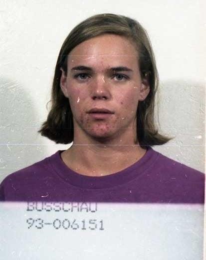 Booking photo of Barrett Preston Busschau from Clackamas County in 1993 (FBI)