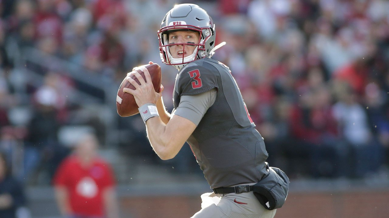 Washington State quarterback Tyler Hilinski looks for a receiver during the second half of WSU's game against Arizona in Pullman, Wash., Saturday, Nov. 5, 2016. Authorities said Hilinski took his own life on Tue. Jan. 16, 2018. (AP Photo/Young Kwak)
