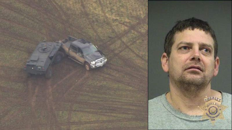 On left, officer-involved shooting scene near Sherwood last Friday. On right, prior jail booking photo of Remi Sabbe.