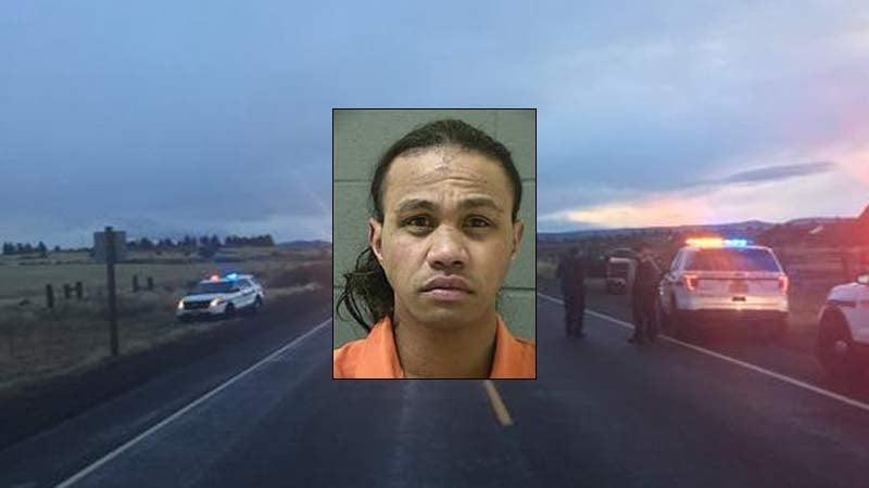 Scene photo and jail booking photo of Rudy Foki Paea Fifita (Oregon State Police)