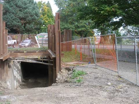 Old photo of entrance to abandoned Grant Street Tunnel