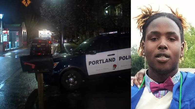 "Deadly shooting scene near Northeast 147th Avenue and East Burnside Street on left. Photo of Kentraveon ""Tre"" Hill provided by family and Portland police, on right."