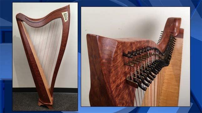 Photos of stolen harp. (Multnomah County Sheriff's Office)