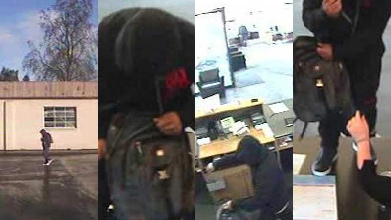Surveillance images of Scappoose bank robbery suspect. (FBI)