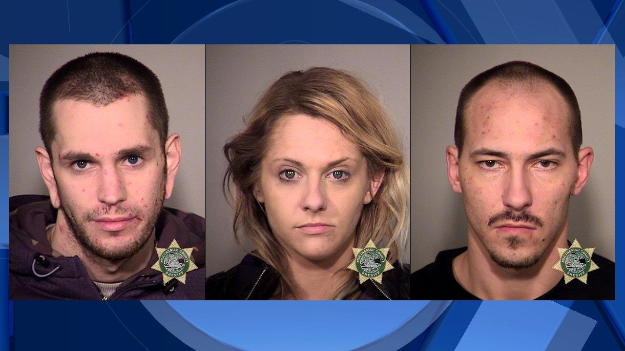 Linfoot (L), Thompson (C) and Belgrade (R) booking photos.