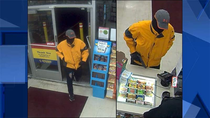 Surveillance images of Plaid Pantry robber in southwest Portland. (Images: Portland Police Bureau/Crime Stoppers of Oregon)