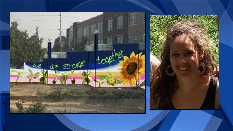 Rendering of possible TriMet tribute wall on left. Photo or artist Sarah Farahat on right.