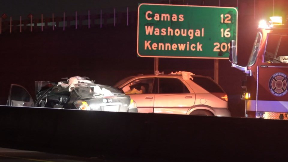 The first of two crashes on SR-14 in Vancouver early Sunday. (KPTV)