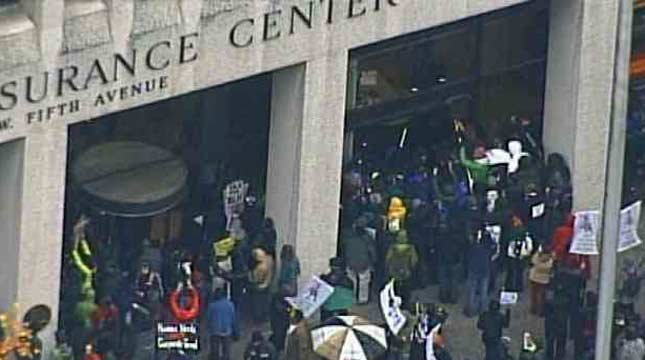 As many as 10 protesters were arrested when they went inside a Wells Fargo bank building.