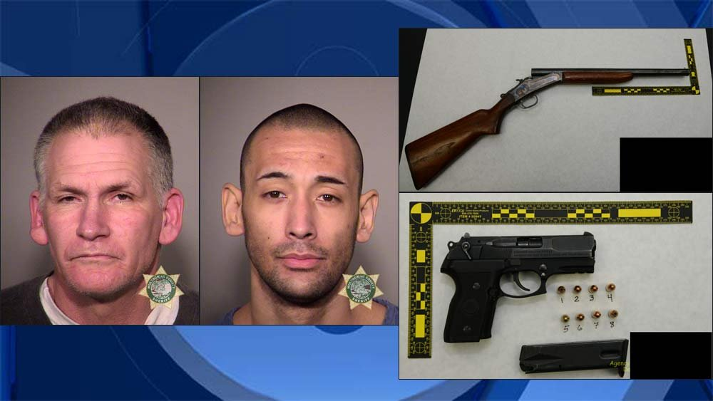 Anthony Prater, Timothy A. Padberg, jail booking photos on left; evidence photos on right. (Photos: Portland Police Bureau)