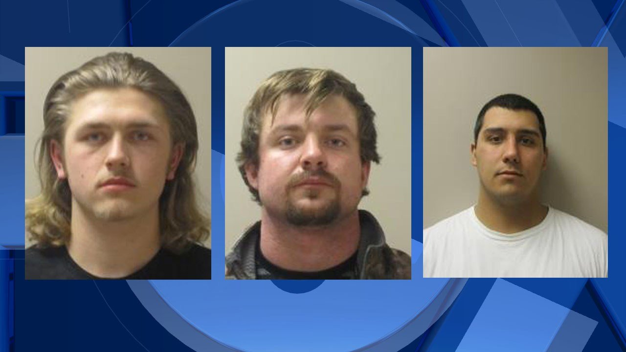 Left to right: Hill, Mackinson, and Lorentson booking photo (Image: Columbia County Sheriff's Office)