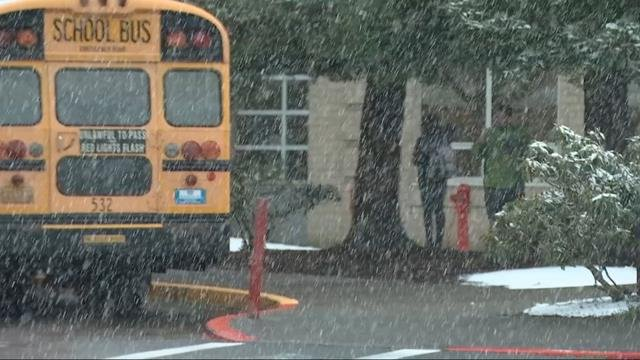Snow falls across metro area; schools announce early releases