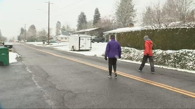 Snow falls on Scappoose