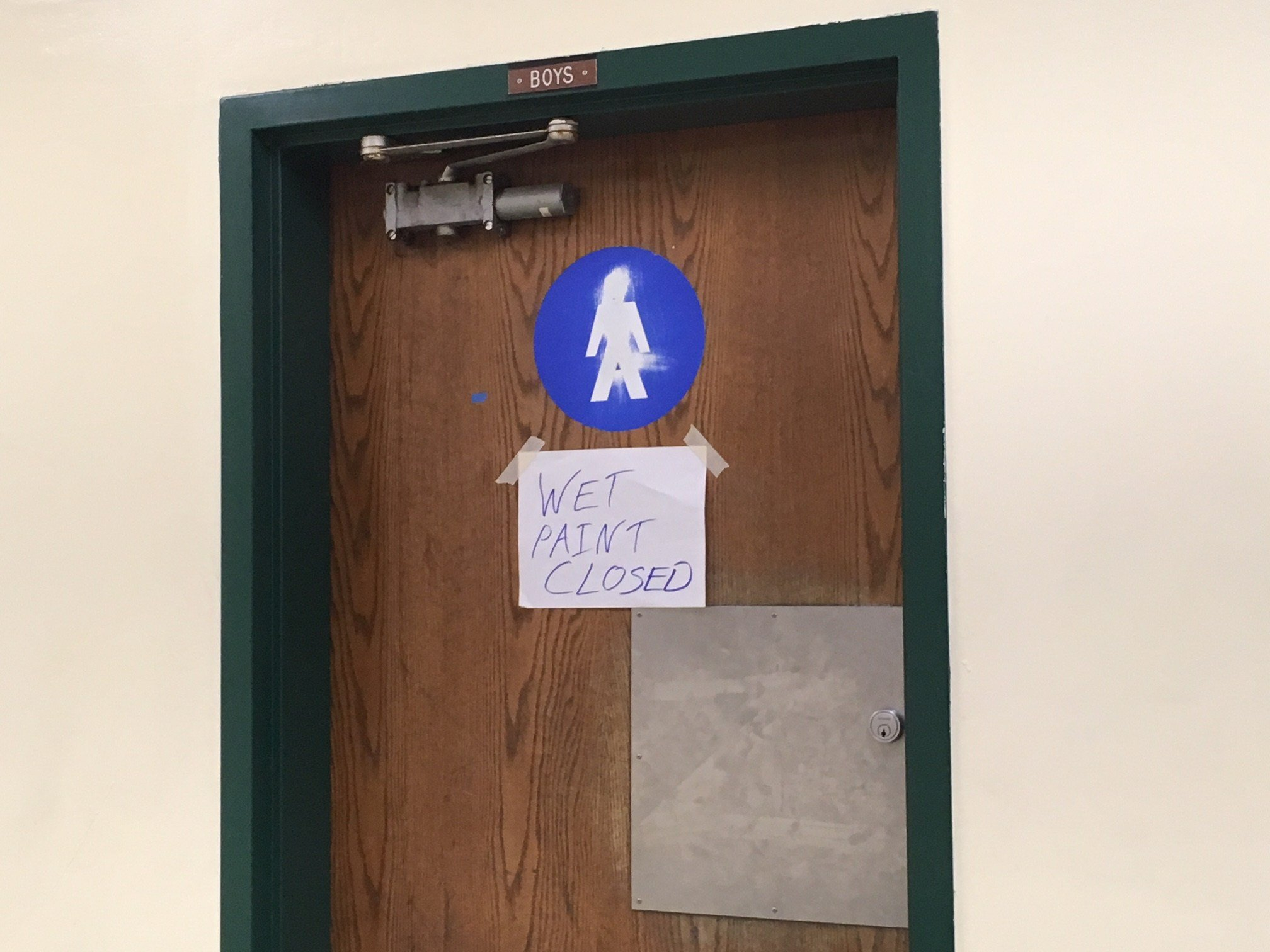 The bathroom at Cleveland HS where racist graffiti was discovered. (KPTV)