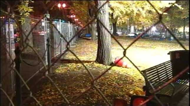 Fences surround Occupy Portland's former downtown encampment.