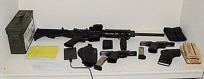 A photo of the evidence seized at McBain's home, courtesy of the Riverside County Sheriff's Office.