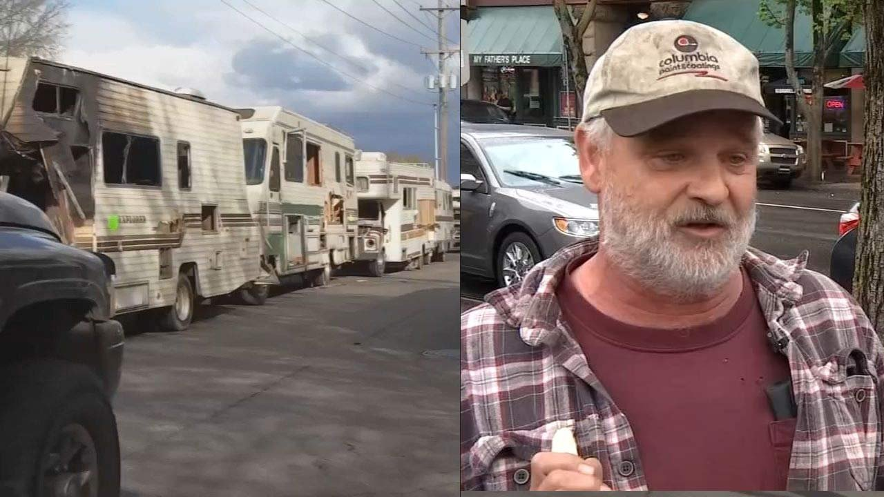 Trailers parked in north Portland and John Maher in April 2017. (KPTV file images)
