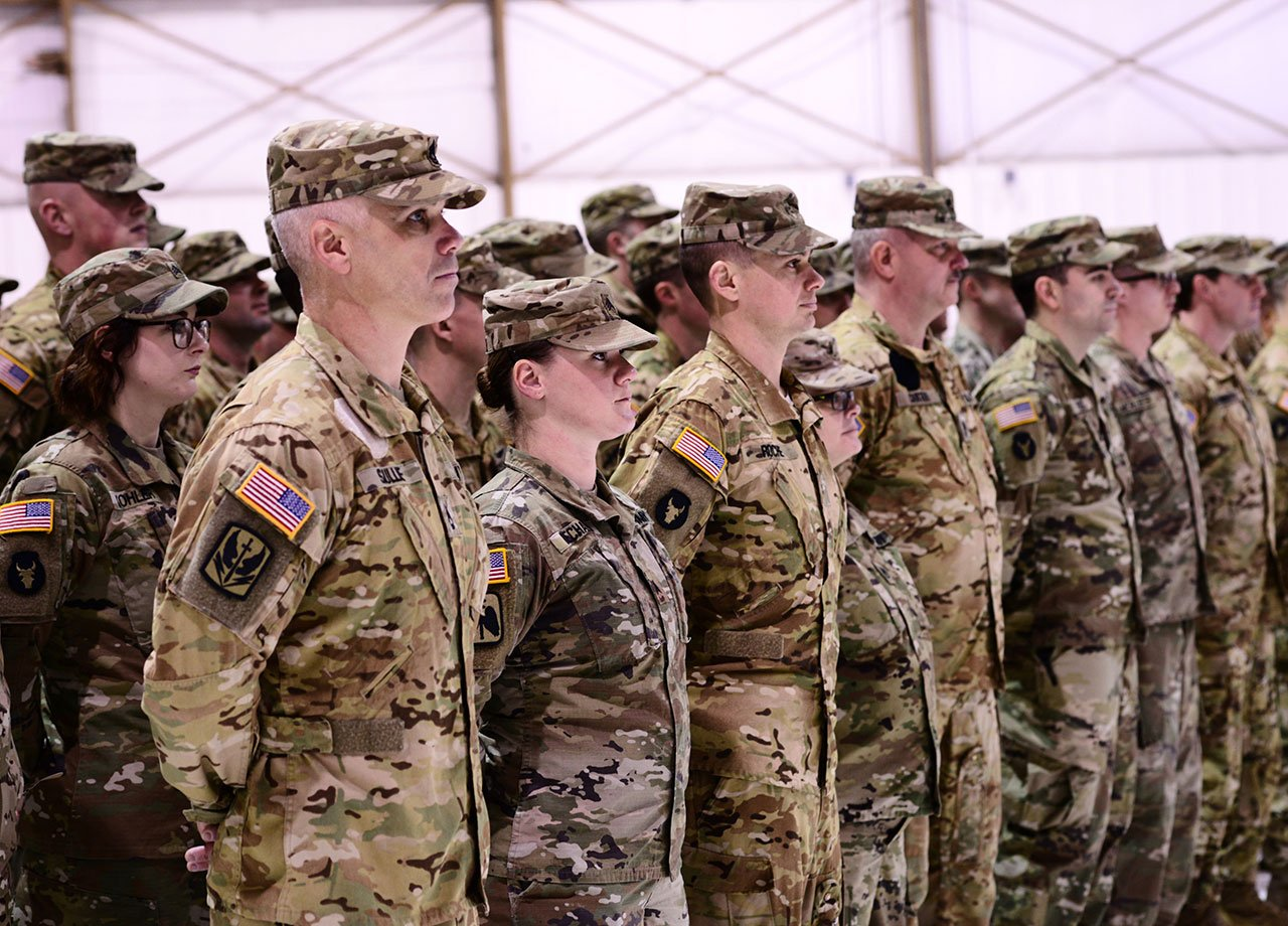 Oregon Army National Guard Soldiers with Company G, 1st Battalion, 189th Aviation Regiment, stand in formation during a demobilization ceremony honoring their return from overseas deployment, March 4, in Salem, Oregon. (Photo by Sgt. 1st Class April Davis