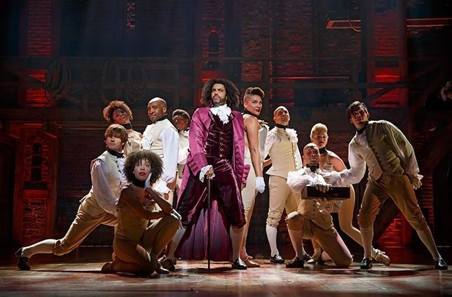 "Daveed Diggs as Thomas Jefferson and the ensemble of ""Hamilton."" (Photo: Joan Marcus)"
