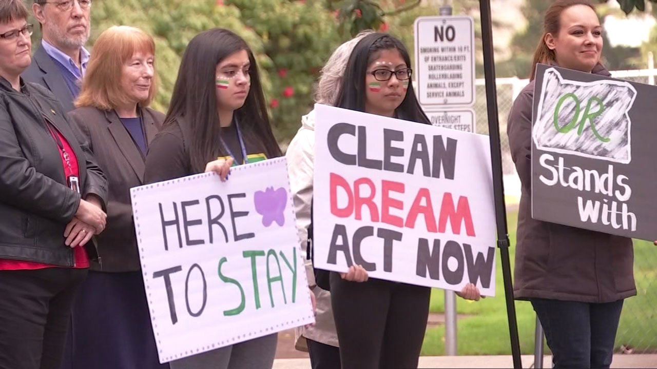 Dreamers and supporters rally at Memorial Park on DACA deadline day