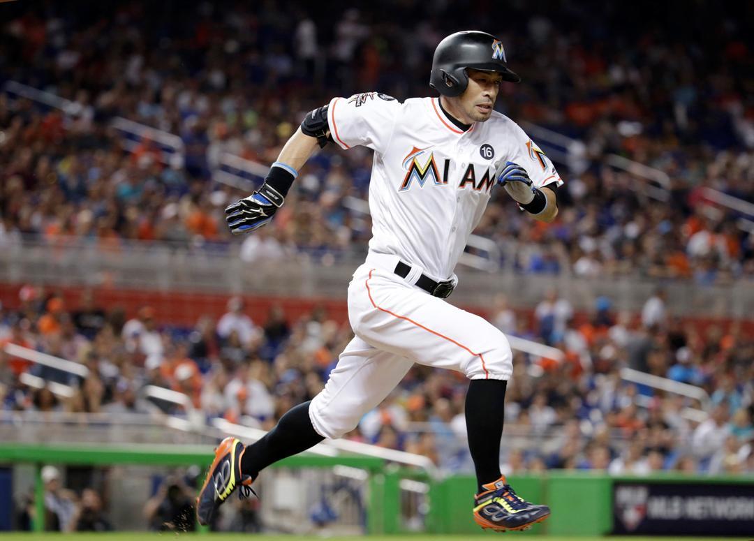 Ichiro Suzuki playing for the Miami Marlins Sept. 30, 2017 (AP image)