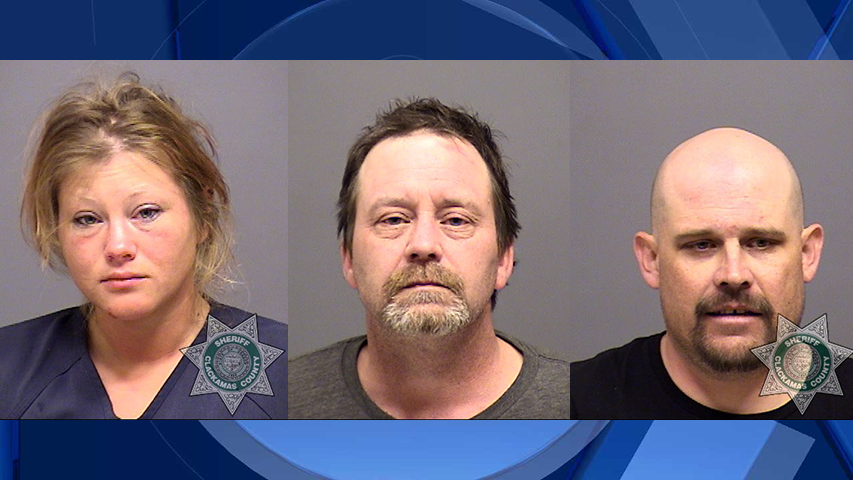 Amanda Smith, Thomas Green, and Kevin Thompson, jail booking photos (Clackamas County Sheriff's Office)