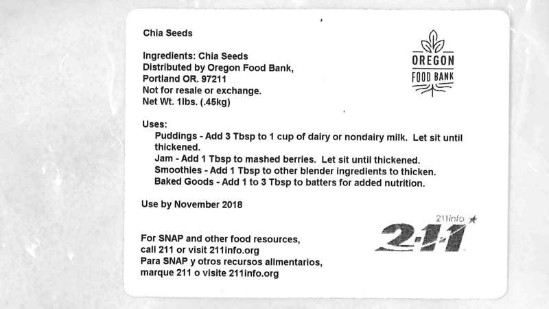 Recalled chia seeds label (Oregon Food Bank)
