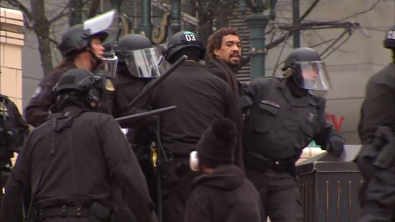 Micah Rhodes during a protest in Portland (KPTV file image)
