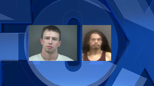 Jeremy Sweet and Gregory Handsaker, jail booking photos. No jail booking photo available for Erin Mesa. (Courtesy: Lincoln County Jail)