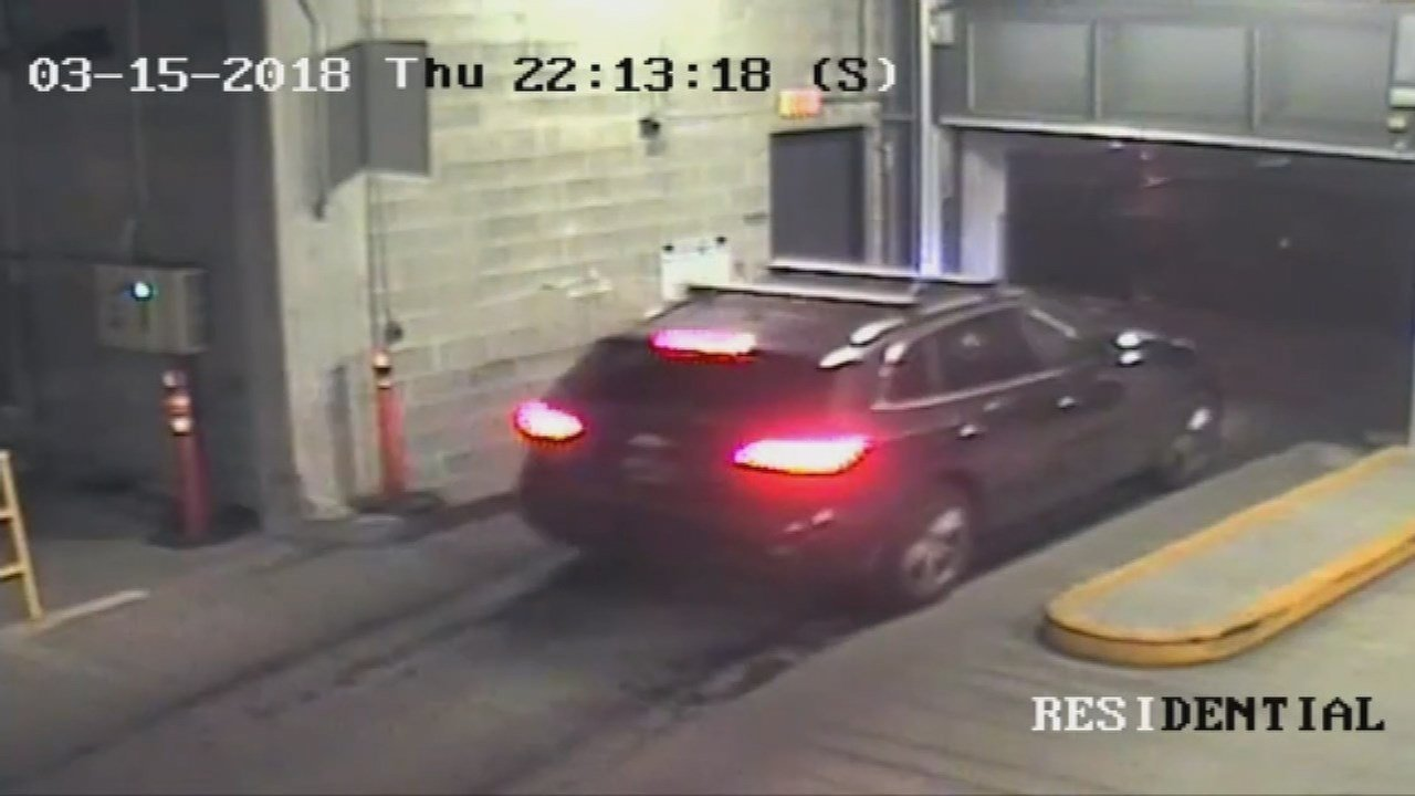 Vehicle captured on surveillance video sneaking into the parking garage. (Courtesy: The Edge Lofts)