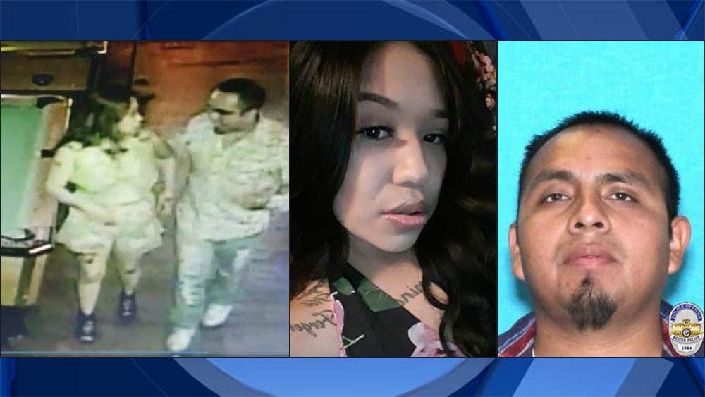 Images from left: Surveillance image from July 16, 2017 in Tequila Nights Bar and Grill in Keizer. Family photo of Cynthia Crystal Martinez. Photo of person of interest Jamie Alvarez-Olivera provided by Keizer Police Department. (KPTV)