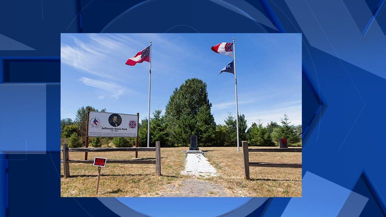 Flag before vandalism (KPTV image)