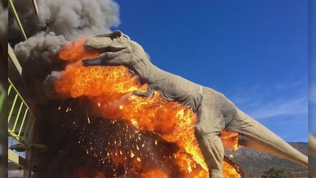 Giant T-Rex model in Colorado bursts into flames
