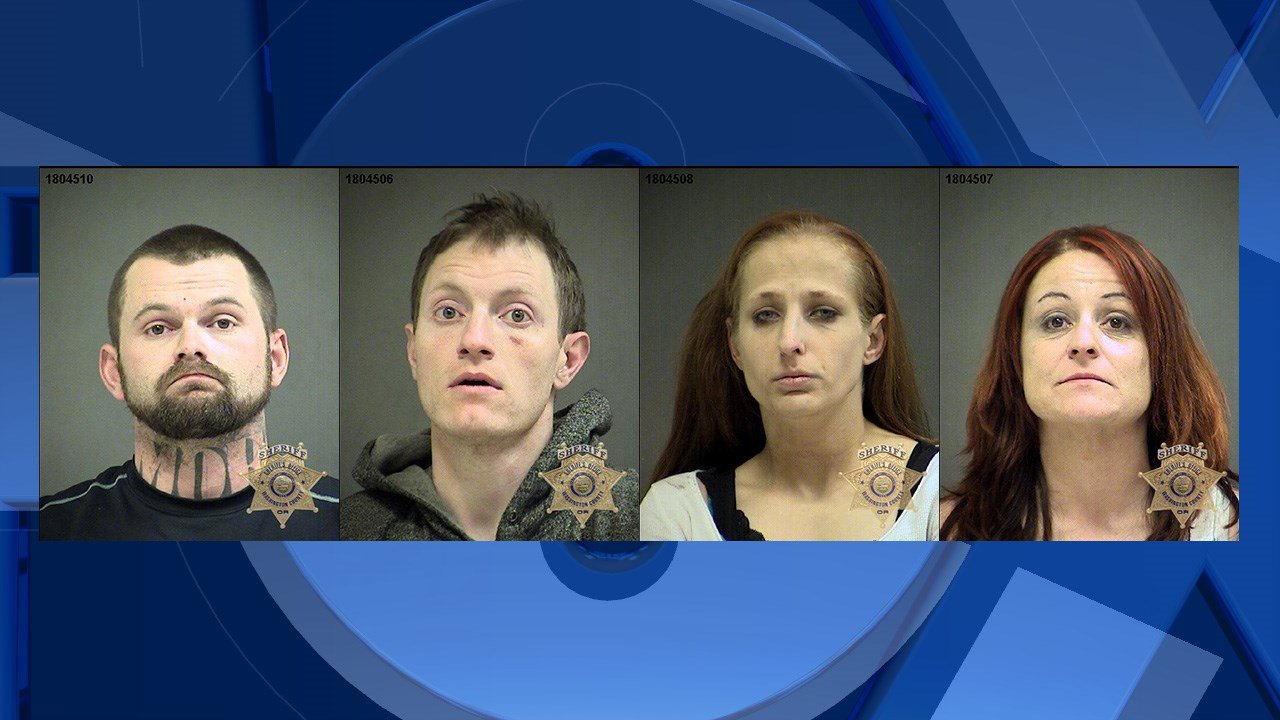 Booking photos from left to right: Jensen, Moriarty, Griffith and Scott.