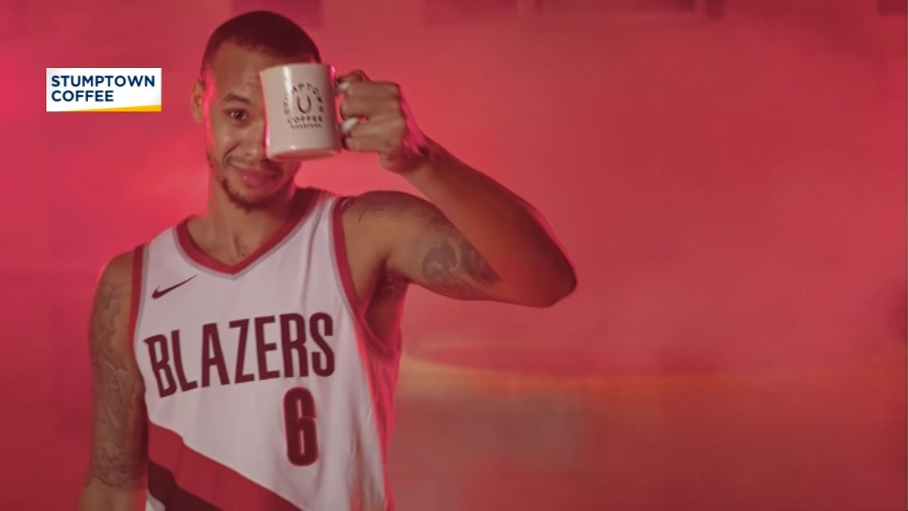 Still image from the Stumptown Coffee Blazers Blend commercial featuring Shabazz Napier. (Courtesy: Stumptown Coffee)