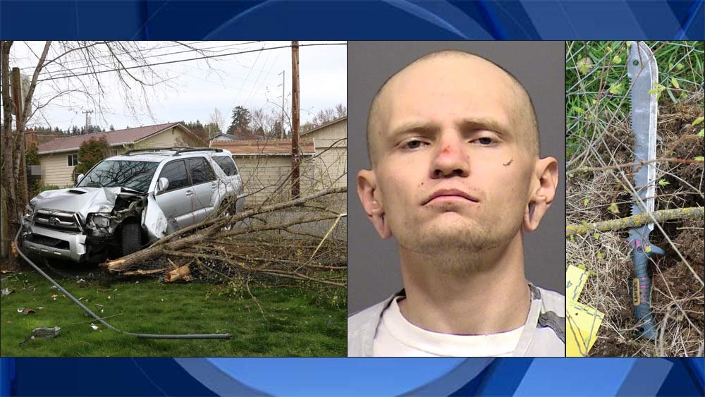 Crash scene photo near Gladstone, jail booking photo of Timothy Crawford and machete seized as evidence (Photos provided by Clackamas County Sheriff's Office)