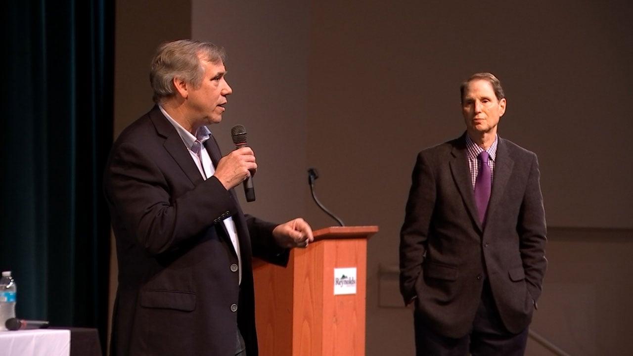 Oregon Senators Jeff Merkley (left) and Ron Wyden at Thursday's event at Reynolds High School. (KPTV)