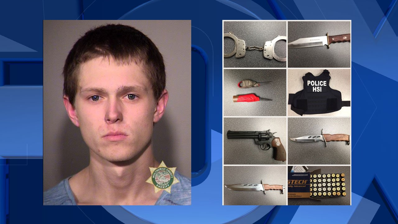 Dylan L. Young, jail booking photo (left); Items found inside stolen vehicle (Photos released by Portland Police Bureau)