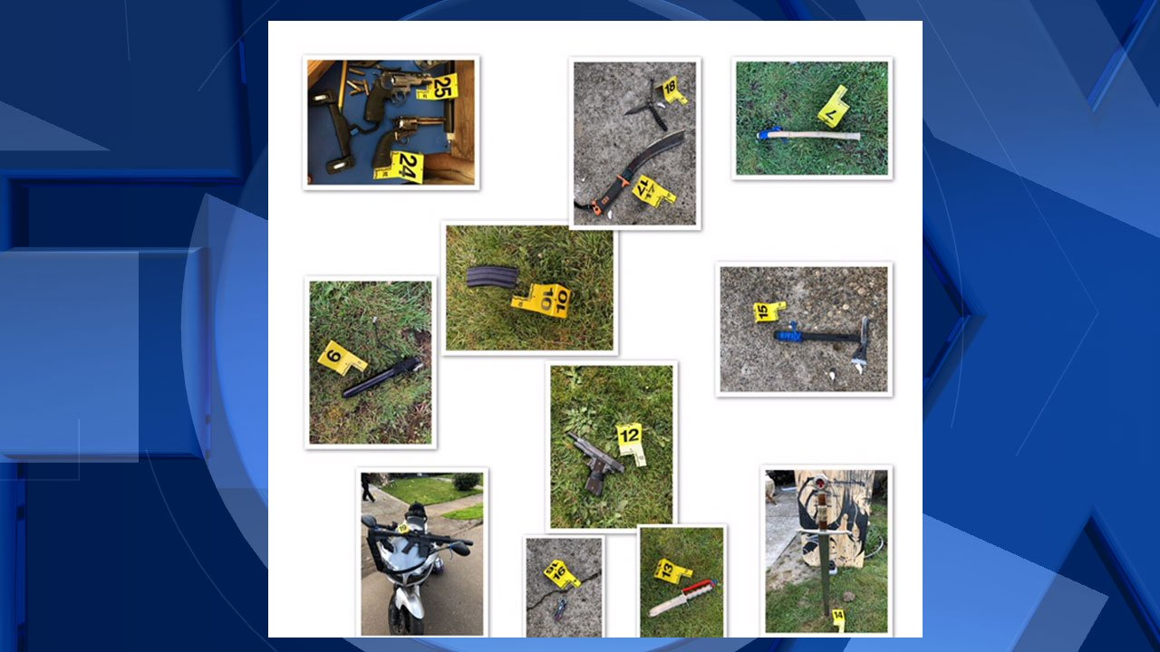 Items seized by police during the investigation. (Photo released by Portland Police Bureau)
