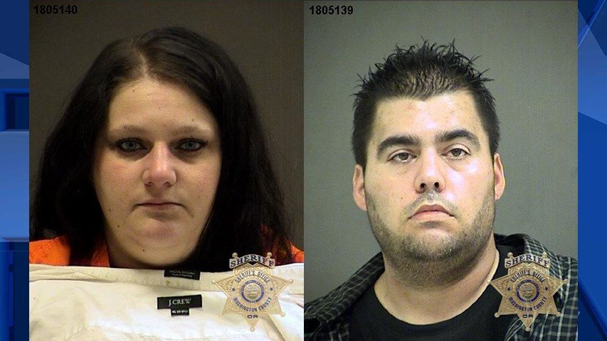 Danielle Hague and Wayde Silva Jr., jail booking photos (Washington County Sheriff's Office)