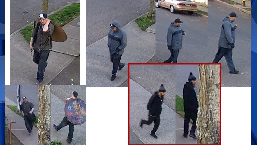 Surveillance images of the people believed to be associated with the March 20 shooting (Portland Police Bureau)