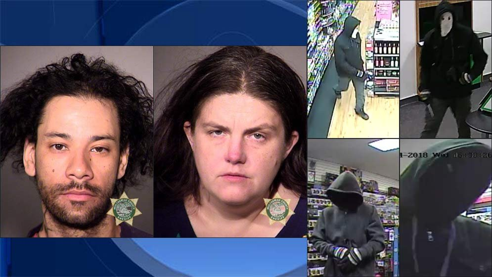 Nigel Floyd and Stephanie Floyd, jail booking photo. Surveillance images released by Multnomah County District Attorney's Office.