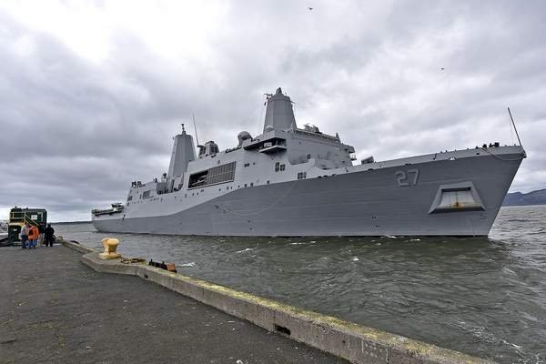The USS Portland gets ready to dock at the Port of Astoria. Photo used with permission from The Daily Astorian/Colin Murphey.