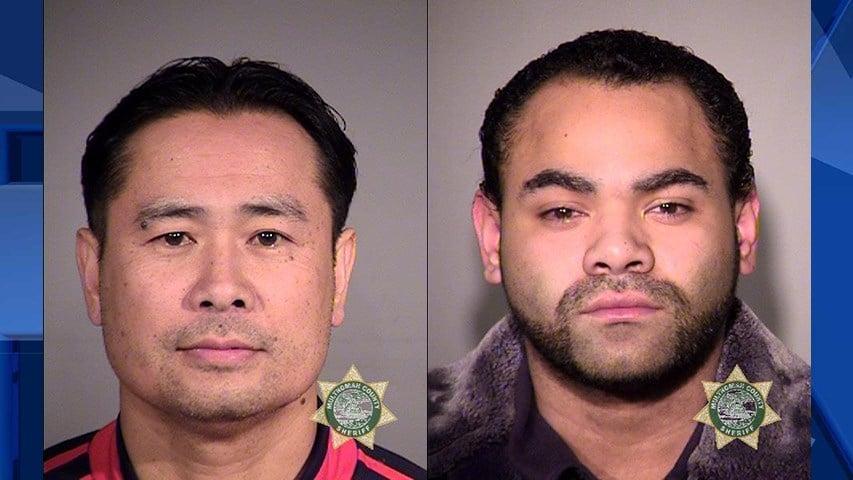Khomphakanh Vondara and Micah R. Rascoe, booking photos (Portland Police Bureau)