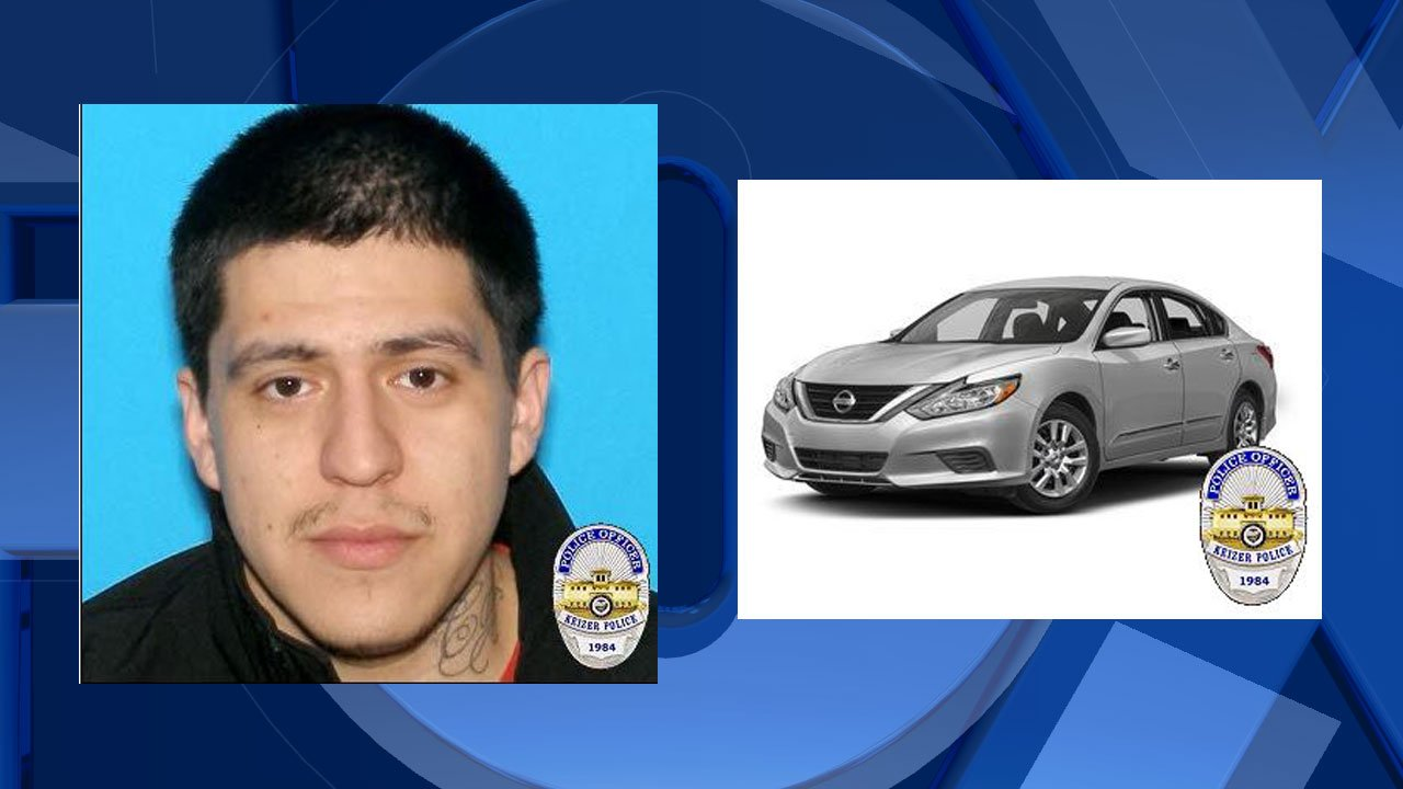 Ryan Joel Carrera (left), image of vehicle similar to one Carrera may be driving. (Photos released by Keizer Police Department)