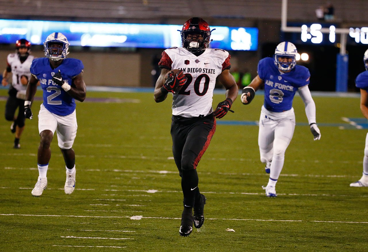 San Diego State running back Rashaad Penny (20) runs for a touchdown against Air Force during an NCAA college football game, Saturday, Sept. 23, 2017, at Air Force Academy, Colo. (AP Photo/Jack Dempsey)