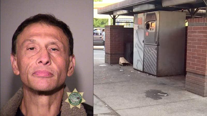 Lorenzo Manuel Tellez, jail booking photo, and scene of stabbing in SE Portland. (KPTV)
