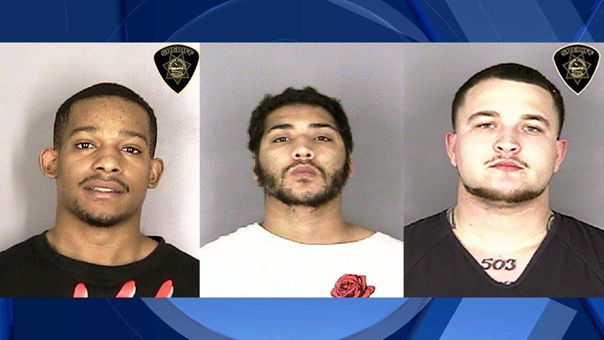 Cain Thompson, Elijah Watterson, and Santano Sauseda, booking photos (Courtesy: Marion County Sheriff's Office)