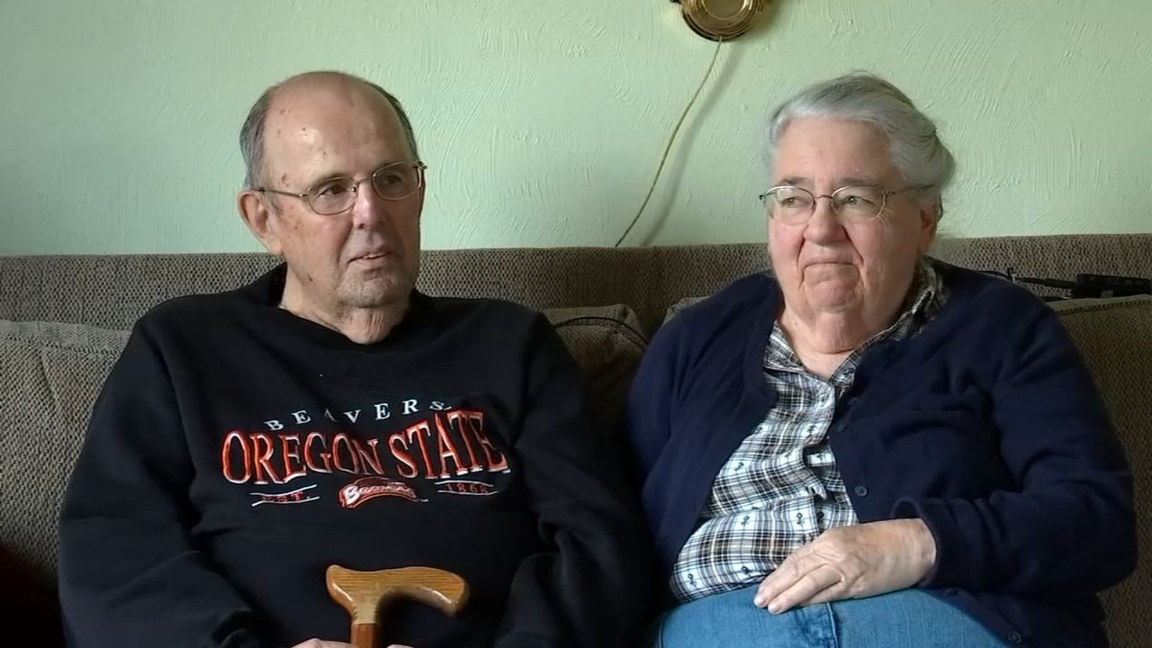 Nicholson's parents, Ben and Janet Nicholson, still live in Oregon, a distance of about 2,600 miles, and are keeping in close contact with her. (KPTV photo).